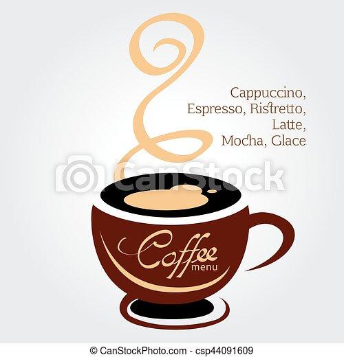 brun, tasse à café, illustration, fond, blanc - csp44091609