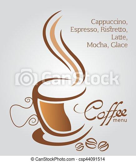 brun, tasse à café, illustration, fond, blanc - csp44091514