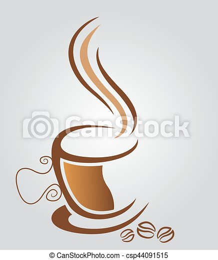 brun, tasse à café, illustration, fond, blanc - csp44091515