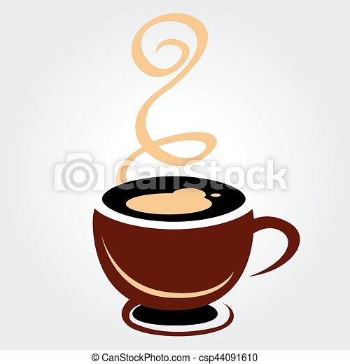 brun, tasse à café, illustration, fond, blanc - csp44091610