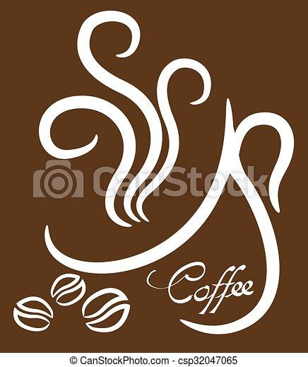 brun, tasse à café, illustration, fond, blanc - csp32047065