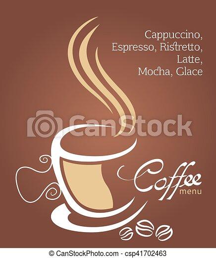 brun, tasse à café, illustration, fond, blanc - csp41702463