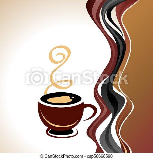 brun, tasse à café, illustration, fond, blanc - csp56668590