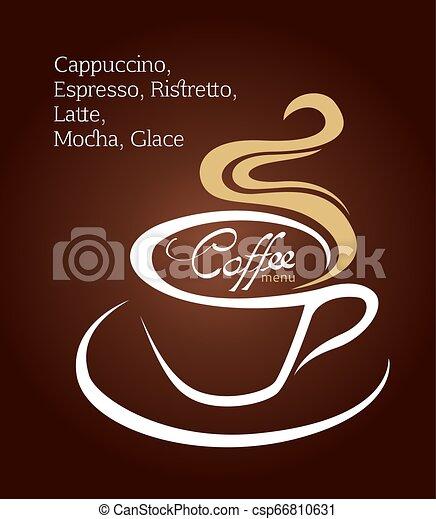brun, tasse à café, illustration, fond, blanc - csp66810631