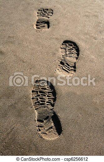 brun, texture, empreinte, sable, caractères soulier, plage - csp6256612