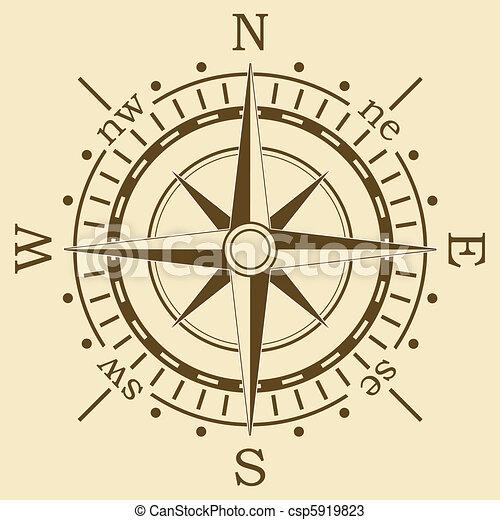 brun, vecteur, compas - csp5919823