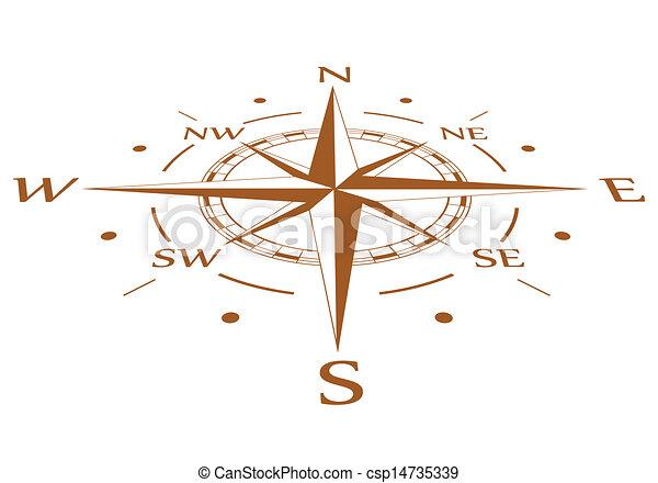 brun, vecteur, comprimé, compas - csp14735339