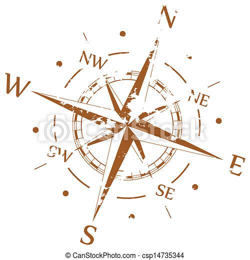 brun, vecteur, grunge, compas - csp14735344