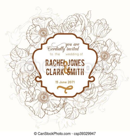 brun, vendange, cadre, mariage, vecteur, invitation, floral, dessin - csp39329947