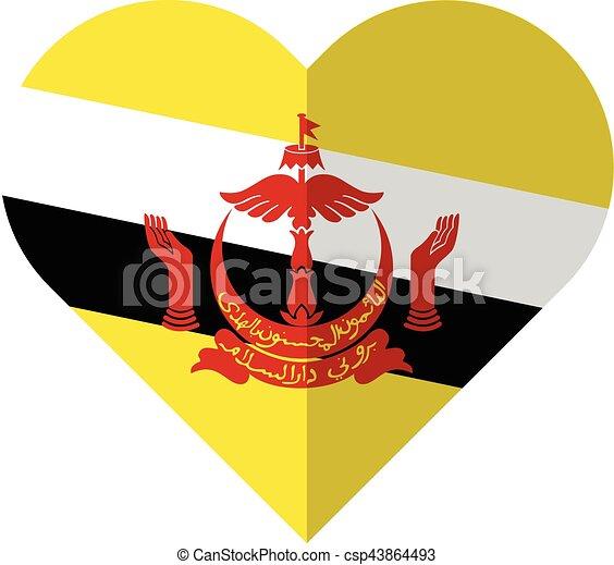 Brunei flat heart flag - csp43864493