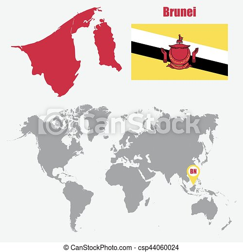 Brunei Map On A World Map With Flag And Map Pointer Vector