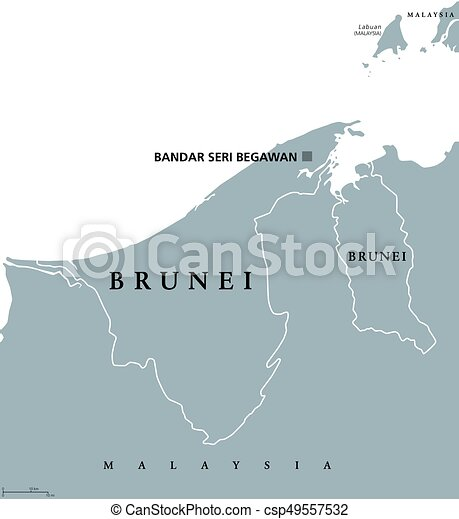 Brunei political map with capital bandar seri begawan vectors