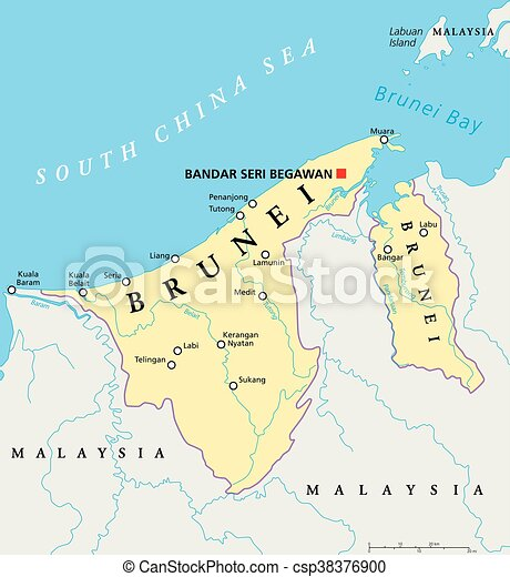Brunei political map with capital bandar seri begawan vector