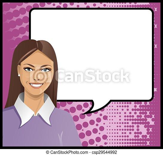 brunetka, dziewczyna, mówiąc, sztuka, hukiem - csp29544992