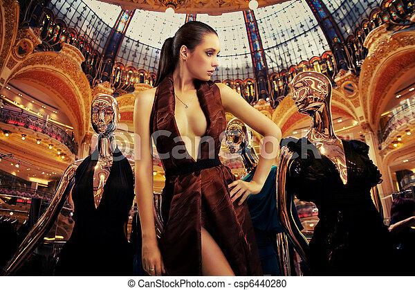 brunetka, sztuka, fotografia, młody, fason, pociągający - csp6440280