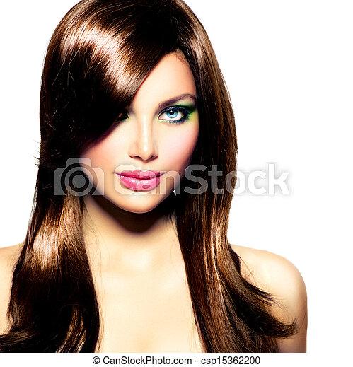 brunett hår, girl., brun, hälsosam, länge, vacker - csp15362200
