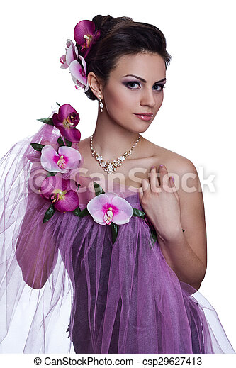 Brunette beautiful woman with flowers - csp29627413