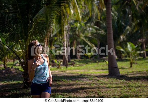 brunette beauty in a rain forest - csp18649409