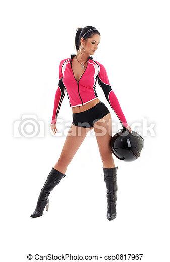 brunette biker girl with black helmet  - csp0817967