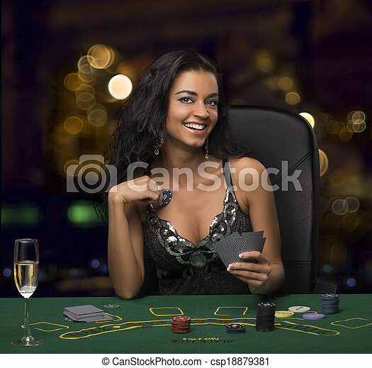 brunette, casino, bokeh, girl, poker jouant - csp18879381