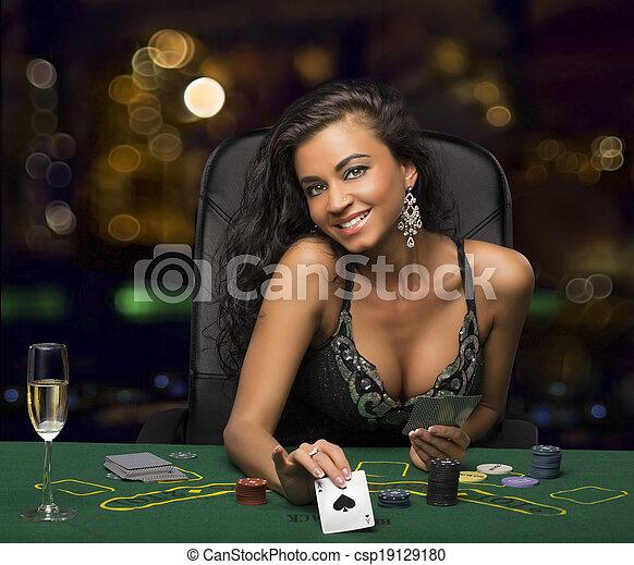 brunette, casino, girl, poker, jeu carte, spectacles - csp19129180