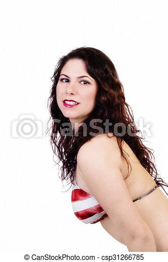 Brunette Caucasian Woman Red And White Bikini Top - csp31266785