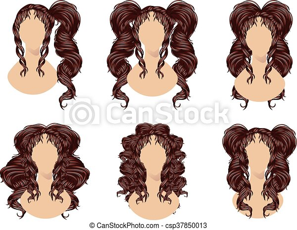 Brunette Curly Hairstyles - csp37850013