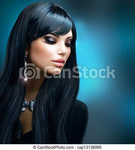 brunette, gezonde , makeup, langharige, girl., vakantie - csp13136995