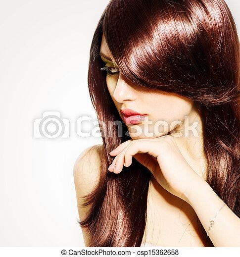 brunette, girl, cheveux, hair., brun, sain, long, beau - csp15362658