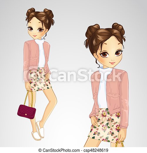 Brunette Girl In Pink Jacket - csp48248619