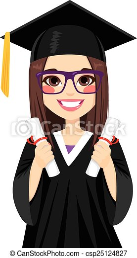 Brunette Graduation Girl - csp25124827