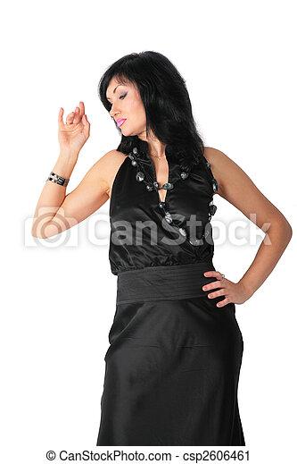 Brunette in black dress - csp2606461