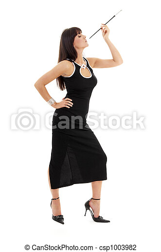brunette in black dress with cigarette holder - csp1003982