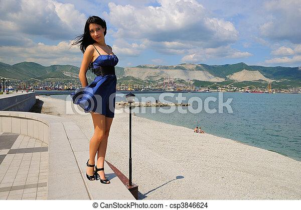 Brunette in the beach - csp3846624