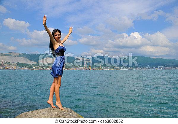 Brunette in the beach - csp3882852