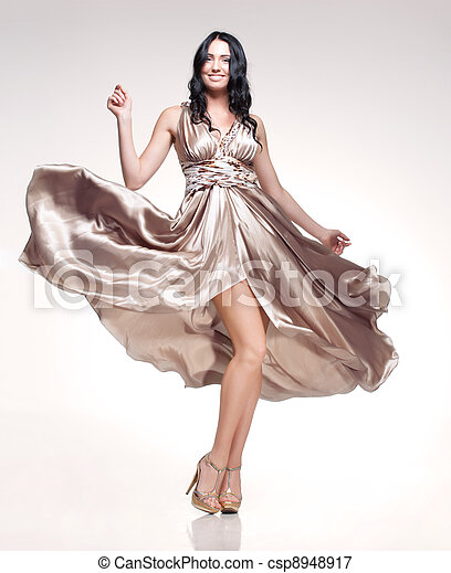 brunette in waving dress - csp8948917