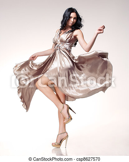 brunette in waving dress - csp8627570