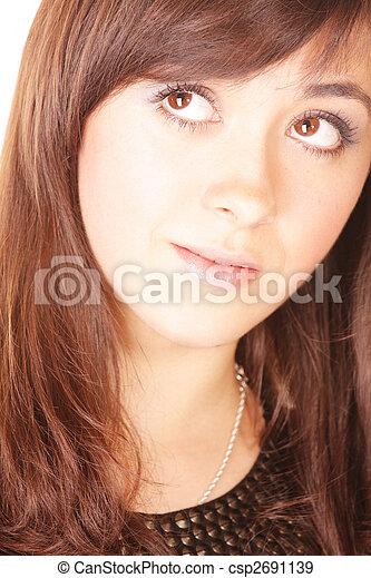Brunette looks up - csp2691139