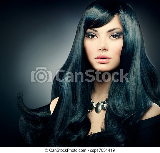 Brunette Luxury . Healthy Long Black Hair and Holiday Makeup - csp17054419