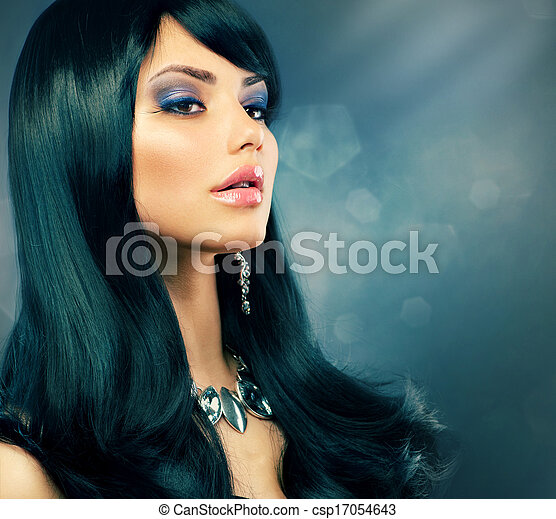 Brunette Luxury . Healthy Long Black Hair and Holiday Makeup - csp17054643