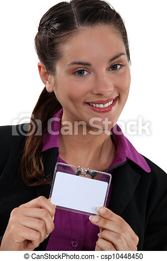 Brunette proudly displaying her business pass - csp10448450