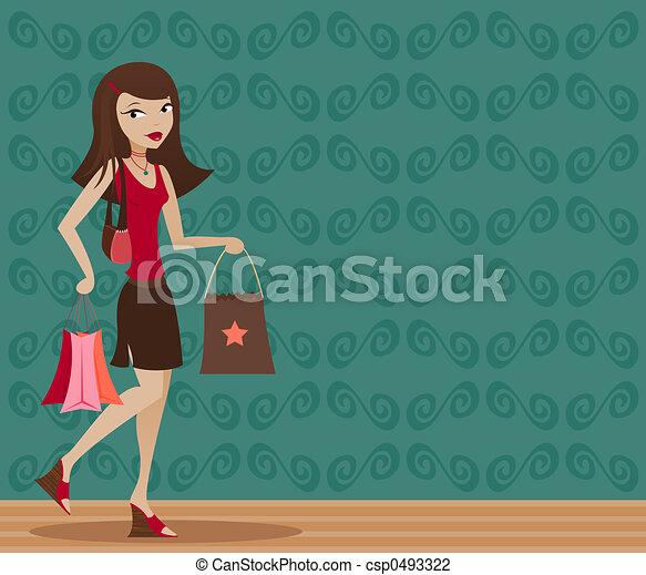 Brunette Shopper - csp0493322
