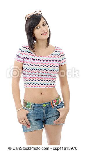 blanc jeune brunette jean fille short csp41615970 jolie xXOqwZSC