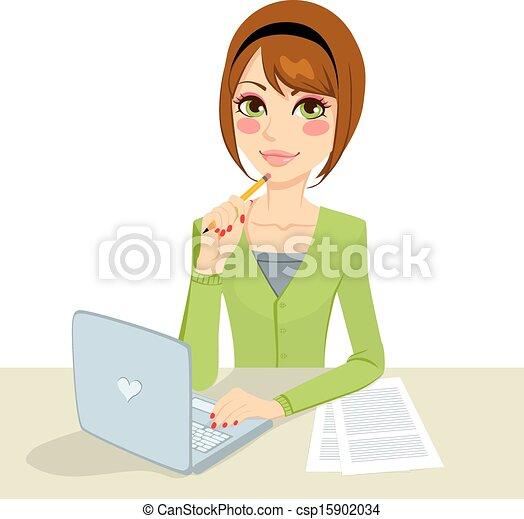 brunette, songeur, secrétaire - csp15902034
