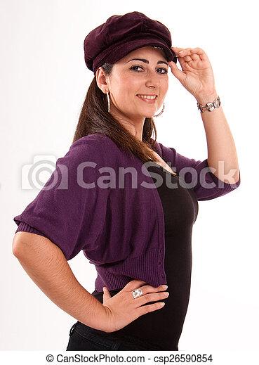 Brunette wearing a cap - csp26590854