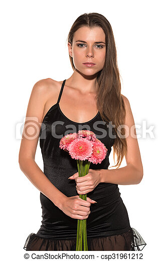 Brunette with flowers - csp31961212