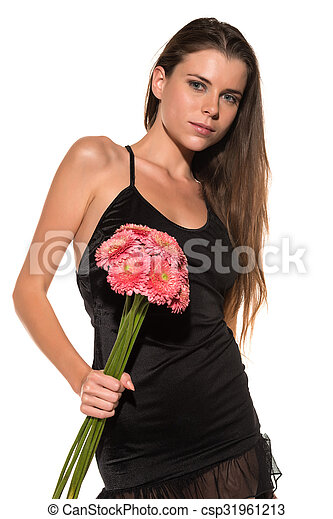 Brunette with flowers - csp31961213