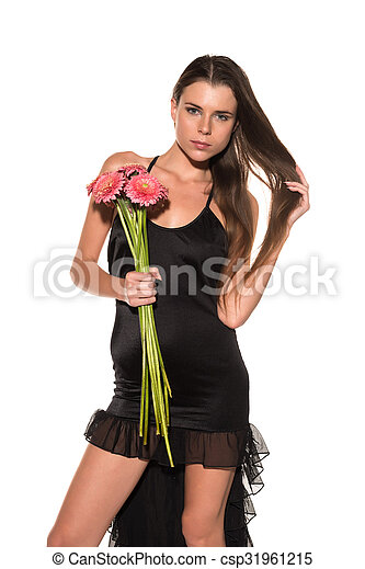Brunette with flowers - csp31961215