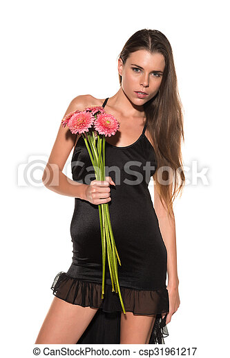 Brunette with flowers - csp31961217