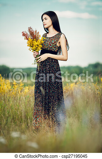 Brunette with flowers - csp27195045